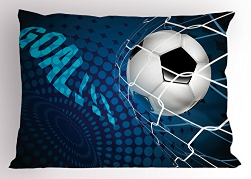 Ambesonne Soccer Pillow Sham, Goal Football Flying into Net Abstract Dots Pattern Background European Sport, Decorative Standard Size Printed Pillowcase, 26