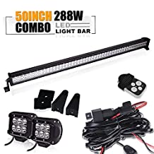 TURBO SII 50 inch Led Work Light Bar 288w Straight Spot Flood Combo Beam with 3Lead Remote Control Wiring Harness Kit and 2Pcs 4 inch 18w Sopt Pods Cube Led Work Lights