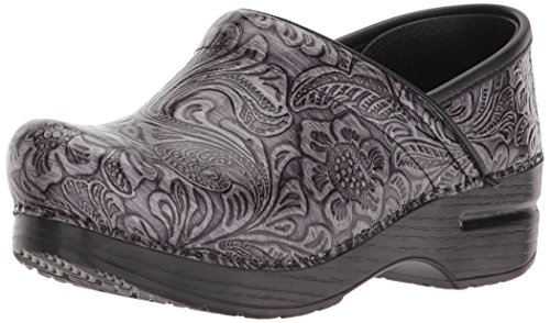 Dansko Women's Professional Clog, Grey Tooled Patent, 35 M EU (4.5-5 US) Tooled Leather Shoes