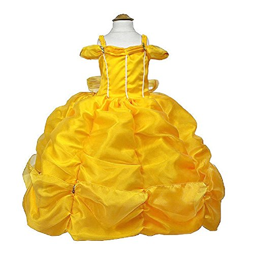 Belle 2 Piece Costumes (MylittlelizShop Disney Beauty and Beast Princess Dress Kids Costume (2, Yellow))