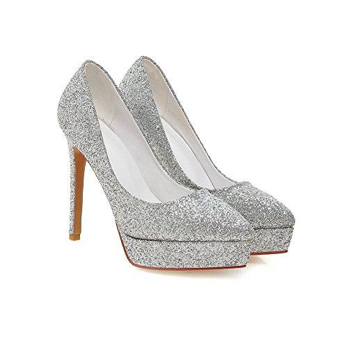 Amoonyfashion Femmes Paillettes Solides Pull-on Hauts Talons Pointus Fermés Orteils Pompes-chaussures Argent