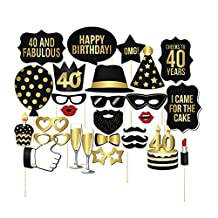 Miraclekoo 40th Birthday Party Photo Booth Props Party Favor Kit,28 Pcs