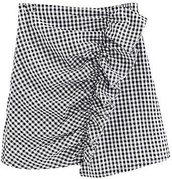 Holywin Mini Falda asimétrica con Volantes de Leopardo para Mujer ...