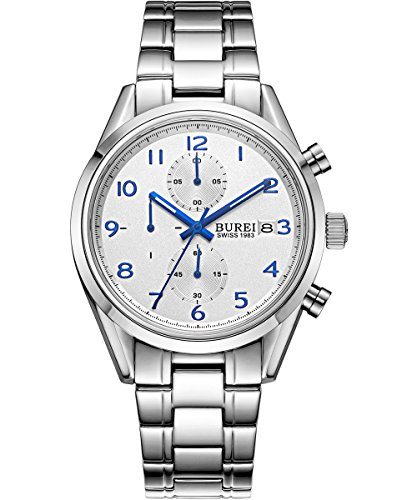 BUREI-Men-Chronograph-Sports-Watch-White-Big-Face-Stopwatch-with-Blue-Hands-and-Stainless-Steel-Bracelet