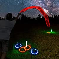 GlowCity LED Ring-Toss Game - Glow-in-The-Dark Dazzling Color Fun for Kids and Adults - Light Up Your Beach, Lawn and Backyard Parties