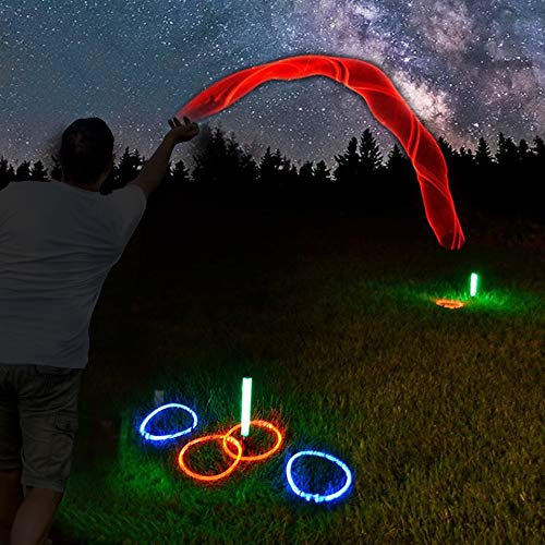 GlowCity LED Ring-Toss Game - Glow-in-The-Dark Dazzling Color Fun for Kids and Adults - Light Up Your Beach, Lawn and Backyard -