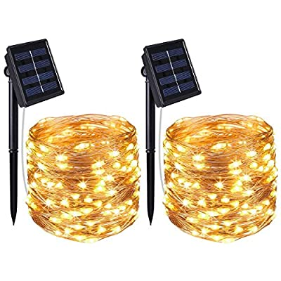 Copper Wire Lights 2 Pack, 100 LED Solar Powered String Lights, IP65 Waterproof Starry String Lights, Ambiance Lighting for Outdoor, Gardens, Homes, Dancing, Christmas Party (8 Modes Warm White)