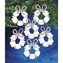 Beadery Holiday Beaded Ornament Kit, 2.25-Inch, Frosted Wreath, Makes 16 Ornaments