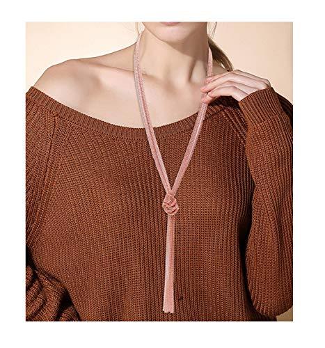 Strand Necklace Tassel (VUJANTIRY Women's Long Necklace Lariat Tassel Pendant Necklace Knot Y Sweater Necklace Strands (Rose Gold))
