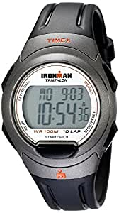 Timex Men's T5K607 Ironman Essential 10 Full-Size Black/Orange Resin Strap Watch
