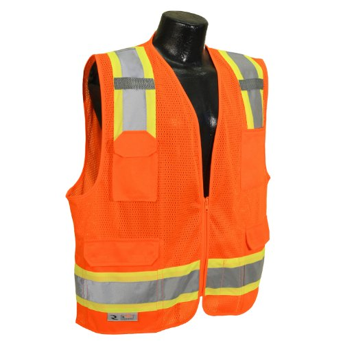 Radians SV6-2ZOM-L Two Tone Class 2 Surveyor Polyester Mesh Vests with Contrasting Trim