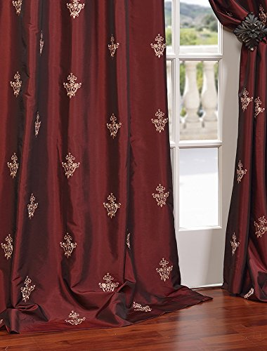 """HPD Half Price Drapes EFSCH-14086A-120 Embroidered Faux Silk Taffeta Curtain, 50"""" x 120"""", Trophy Syrah - Sold Per Panel 51% Polyester 49% Nylon 