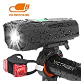 Victagen USB Rechargeable Bike Light & Taillight Set,Powerful 450 Lumens,Waterproof LED Bicycle Headlight Commuter,Cycling, Safety; Easy to Install,Fits All Bicycles,Hybrid, Road, MTB