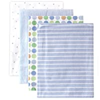 Mantas para recibir franela de Luvable Friends, azul, 4 unidades