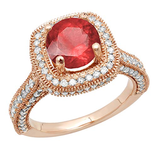 Dazzlingrock Collection 10K 7.5 MM Round Ruby & White Diamond Ladies Halo Engagement Ring, Rose Gold, Size 4.5