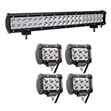 Led Light Bar, 20inch 126W Combo Cree, 2X27W Spot, Remote Wiring Harness, Driving Boat Trailer Led Llights Fog Lights for Trucks Tractor Forklifts UTV SUV JEEP Boat Snow Plow Offroad