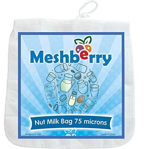 Nut Milk Bag - Greek Yogurt & Cottage Cheese Strainer - Fine Mesh Nylon Cheesecloth - Reusable & Durable 12