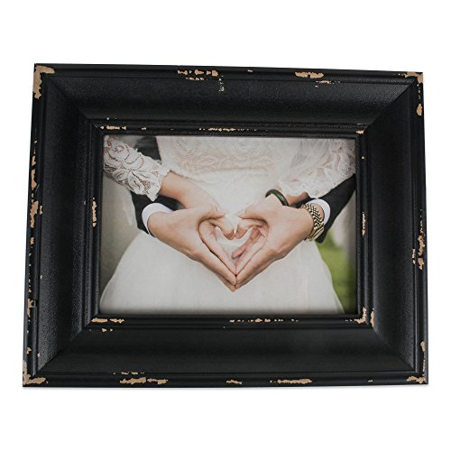 (DII Z02238 Rustic Farmhouse Distressed Wooden Picture Frame for Wall Hanging or Desk Use, 8x10, Black)