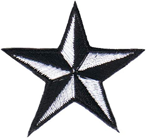 1 12 INCH White Nautical Star Patch Compass Naval Embroidered Iron On Applique