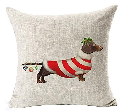 Animal adorable christmas dachshund hot diggedy-dog Cotton Linen Throw Pillow covers Case Cushion Cover Sofa Decorative Square 18 inch