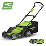 Greenworks 40V Cordless Lawn Mower  with 50L Grass Box, 2x 2Ah battery and charger, 2-in-1, Cutting...