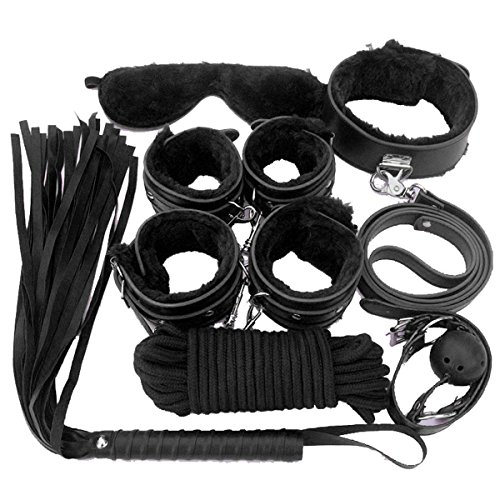 Sxtoy4u Premium PU Leather 7 Pcs Restraint Set Whip, Handcuffs, Blindfold, Gags, Collar, Leash, Choker (Black)
