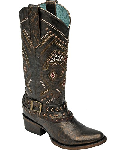 Corral Womens Borchiato Thunderbird E Imbracatura Western Boots Copper