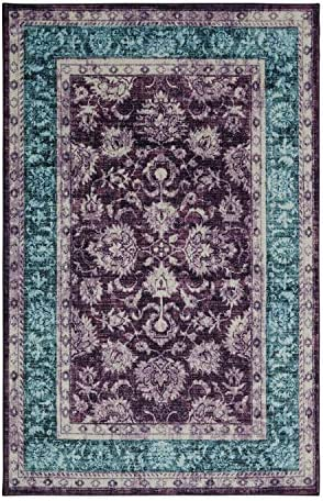 Mohawk Home Prismatic Worcester Purple Distressed Floral Precision Printed Area Rug, 8 x10 , Purple and Blue