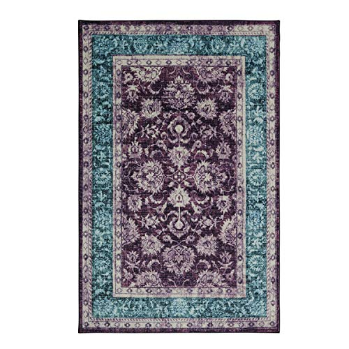 Mohawk Home Prismatic Worcester Purple Distressed Floral Precision Printed Area Rug, 5'x8', Purple and Blue (Purple Area Teal And Rug)