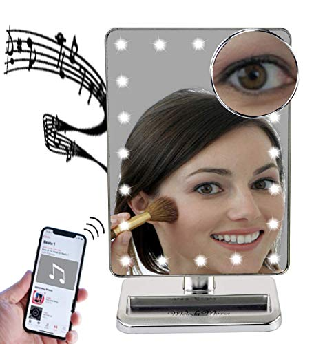 Melody Mirror - Lighted Vanity Mirror with Bluetooth Speaker - Eletro Plated Silver ()