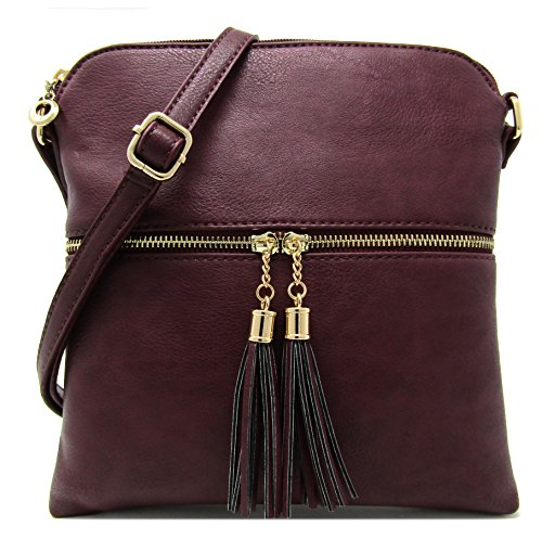 with Purse Leather Faux Rich Light Organize and Bag Weight Burgundy Adjustable Shoulder Capacity Medium Crossbody Large Women's Strap qOAUSx