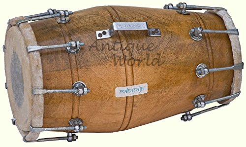 Antiques World Dholak (Dholki) Made Of Mango Wood, Bolt-tuned, with Tuning Spanner AWUSAMI 09 by Antiques World