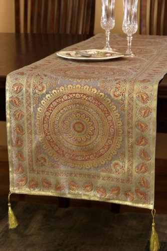 Banarsi Designs Exotic Oriental Table Runner (Golden Silver, 70