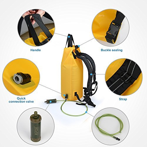 Xpor Portable Dry Bag and Outdoor Hydration Pack,10L/25L Gravity Water Filter,Waterproof Backpack Bladder Bag Water Purification System with 1 Shower for Traveling, Camping, Outdoors and Adventures