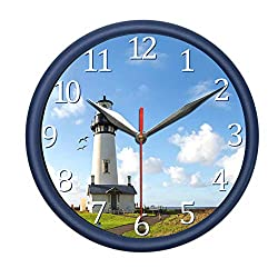 PondTech Lighthouse Wall Clock with Sea Gull Sound and Light. Decorate Your Bedroom, Kitchen or Office with Stylish Wall Clock