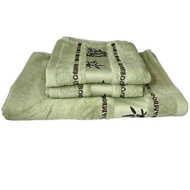 Yanglovele Bamboo Fiber Bath Room Towels Set Home Clearing Towels Bath Towel Face Towels 3pcs Set (Green)