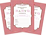 baby bbq - BBQ Baby Pink 5x7 Baby Shower Invitations - 24 Invites and 24 Envelopes