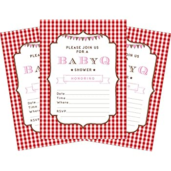 BBQ Baby Pink 5x7 Baby Shower Invitations   24 Invites And 24 Envelopes