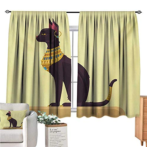 Warm Family Egypt Country Curtain Antique Ancient Times Mystical Cartoon Style Cat with Earring Image Pale Yellow Mustard Plum Doorway Curtain W63 x L45 -