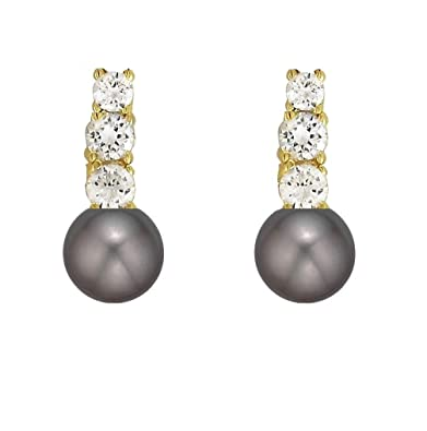 196b937fd 14K Gold AAA Cultured Freshwater Pearls CZ Accent Earrings (10-11mm) (Black