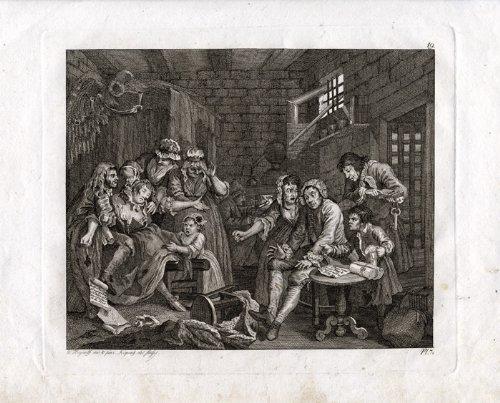 Impresión antigua de rastrillos ThePrintsCollector el progreso de la cárcel Hogarth-1820
