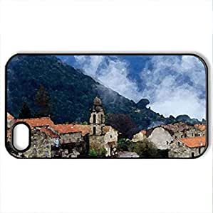 Village in alta roca-corisca - Case Cover for iPhone 4 and 4s (Houses Series, Watercolor style, Black)