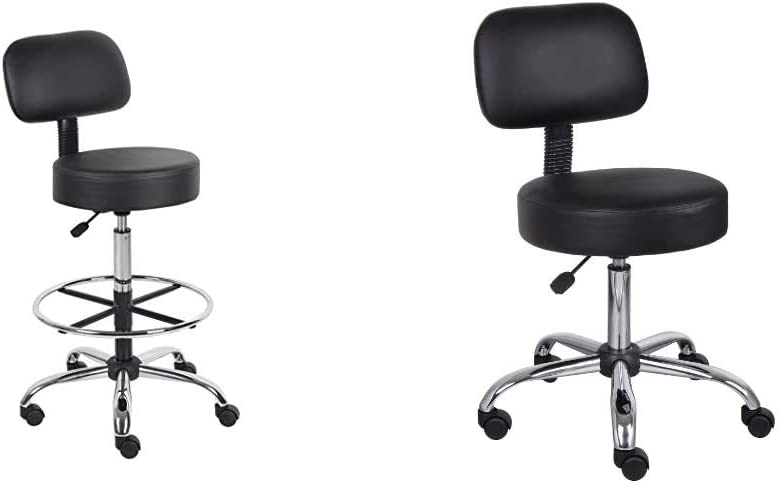 Boss Office Products B16245-BK Be Well Medical Spa Drafting Stool with Back, Black & Be Well Medical Spa Stool with Back in Black