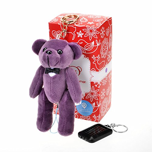 Bear Gentleman 130dB Personal Alarm App Smart with Solar LED Flashlight Keychain for IOS and Android (Purple Smart App)