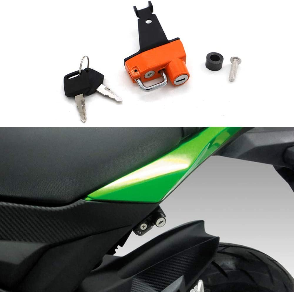 Black Motorcycle Helmet Lock with Keys Anti-Theft For Kawasaki Z125//Pro 2016 and later