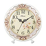 HENSE Victorian Garden Living Room Decorative Desk Clocks Silent Non tick Sweep Second Wooden Table Clock HD10 (White) For Sale