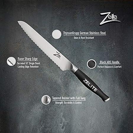 Zelite Infinity, Cuchillo Sierra de 15 cm – Utensilios Cocina Serie Comfort-Pro – Acero Inoxidable Alemán de Alto Contenido en Carbono – Cuchillos Cocina Filo de Navaja, Supercómodos