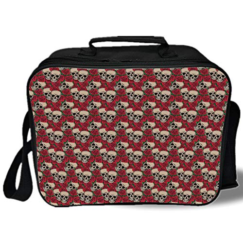 Rose 3D Print Insulated Lunch Bag,Graphic Skulls and Red Rose Blossoms Halloween Inspired Retro Gothic Pattern,for Work/School/Picnic,Vermilion Tan Green ()