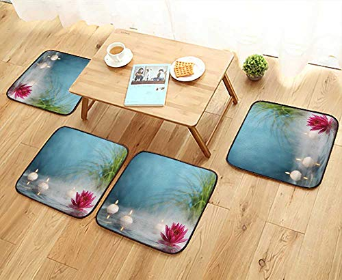 (UHOO2018 Comfortable Chair Cushions Burn Candles and Water Lily in a Serenity Pool Reuse can be Cleaned W17.5 x L17.5/4PCS)