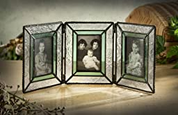 J Devlin Pic 122-3 Stained Glass Triple Hinged Photo Frame Holds Three 2x3 Pictures Sage Green